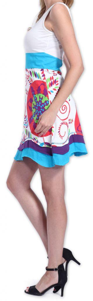 Robe d'été à larges bretelles Ethnique et Originale Claral Blanche 276883