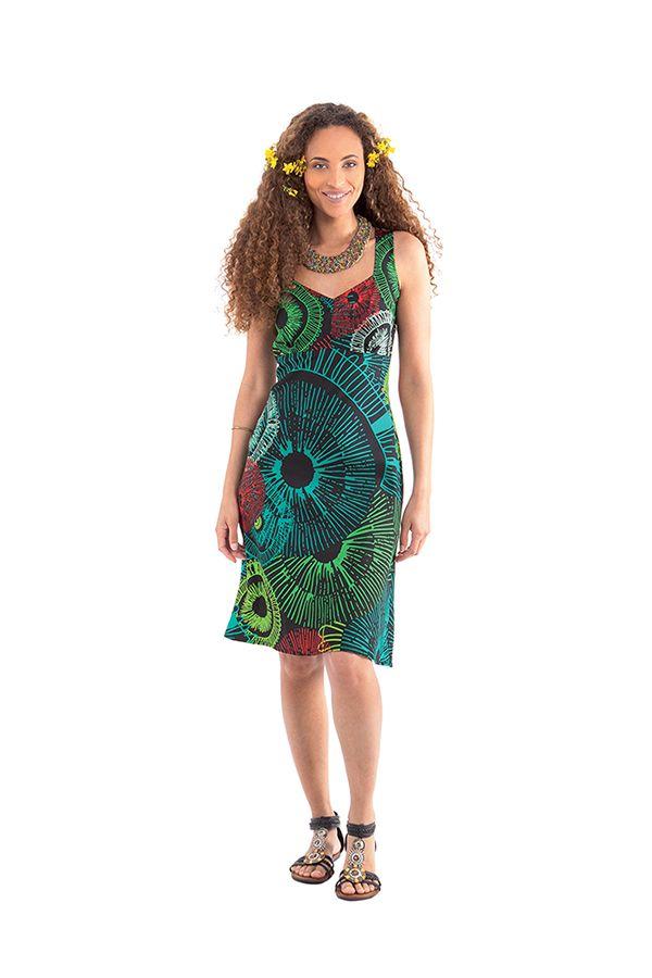robe d ete a larges bretelles noire et verte chic et. Black Bedroom Furniture Sets. Home Design Ideas