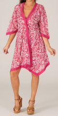 Robe d'été à manches 3/4 Rose type Kimono et Asymétrique Montijo 280416