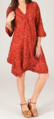 Robe d'été à manches 3/4 Rouge Vif Ethnique et Asymétrique Elvas 280403