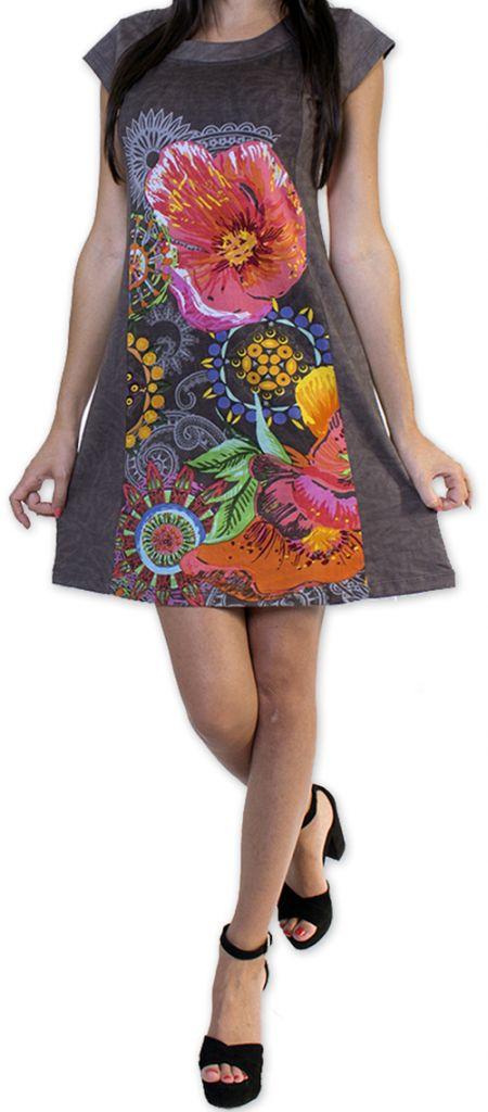 Robe d'été à manches courtes Originale et Colorée Cindie Grise 276874