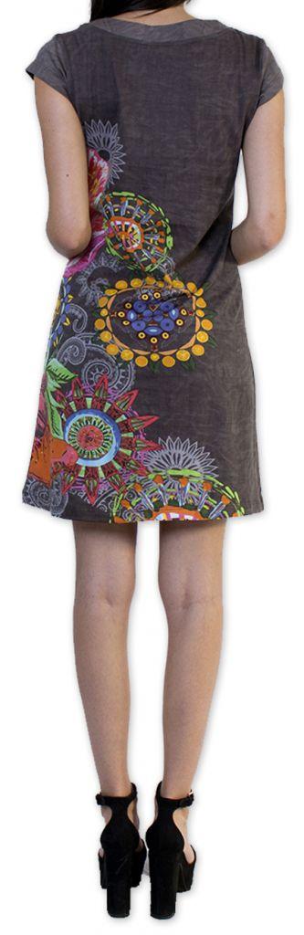 Robe d'été à manches courtes Originale et Colorée Cindie Grise 276876