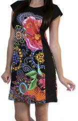 Robe d'�t� � manches courtes Originale et Color�e Cindie Noire 276869