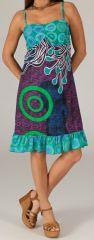 Robe d'été à volant Imprimée et Colorée Odysée Turquoise 279498