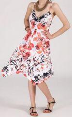 Robe d'�t� Asym�trique et Originale ASSIA Blanche imprim�e RM340 273001