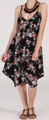 Robe d'�t� Asym�trique et Originale ASSIA Noire � fleurs RM344 272995