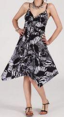 Robe d'�t� Asym�trique et Originale Assia Noire et Blanche RM350 272981