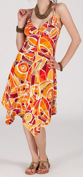 Robe d'été Asymétrique et Originale ASSIA Orange RM347 272988