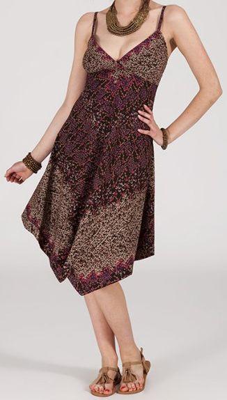 Robe d'été Asymétrique et Originale Assia tons Prune RM345 272993