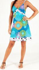 Robe d'été courte à fines bretelles Originale et Colorée Cooly Cercles 279461