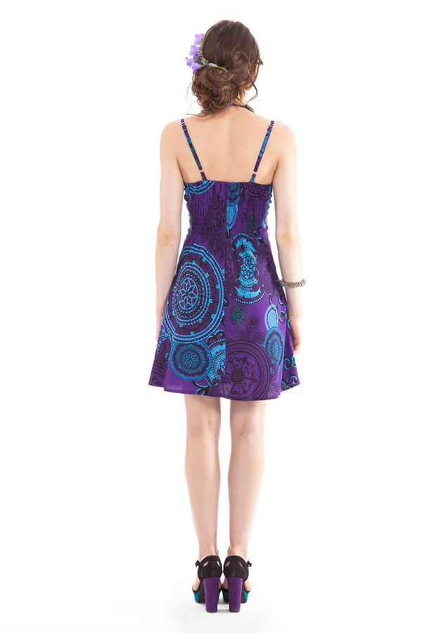 robe d ete courte chantal ethnique et originale violette. Black Bedroom Furniture Sets. Home Design Ideas