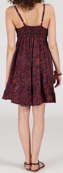 Robe d'été courte ethnique à motifs batik Bordeaux Lorene 272819