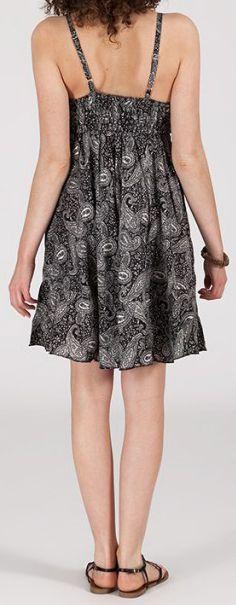 Robe d'été courte ethnique à motifs batik Noire/Blanche Lorene 272821