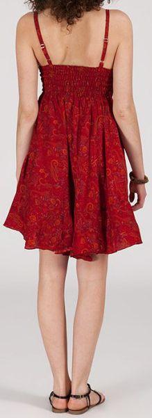 Robe d'été courte ethnique à motifs batik Rouge Lorene 272817