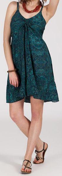 Robe d'été courte ethnique à motifs batik Vert/Bleu Lorene 272811