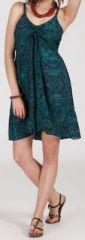 Robe d'�t� courte ethnique � motifs batik Vert/Bleu Lorene 272811