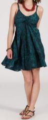 Robe d'été courte ethnique à motifs batik Vert/Bleu Lorene 272812