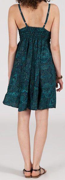 Robe d'été courte ethnique à motifs batik Vert/Bleu Lorene 272813