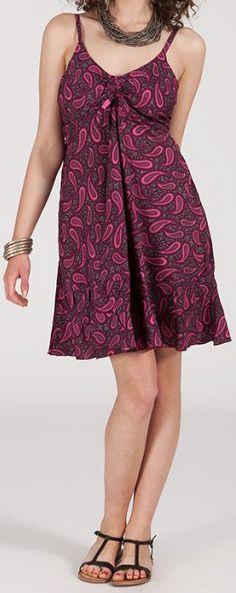 Robe d'été courte ethnique à motifs batik Violet/Rose Lorene 272814