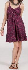 Robe d'�t� courte ethnique � motifs batik Violet/Rose Lorene 272814