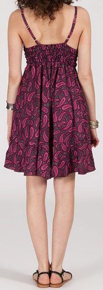 Robe d'été courte ethnique à motifs batik Violet/Rose Lorene 272815