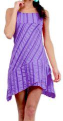 Robe d'été courte Ethnique et Asymétrique Ibizza Violette 277040