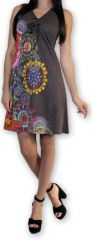 Robe d'été courte Ethnique et Colorée Alissa Grise 276606