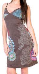 Robe d'�t� courte ethnique et color�e Grise Loua 273579