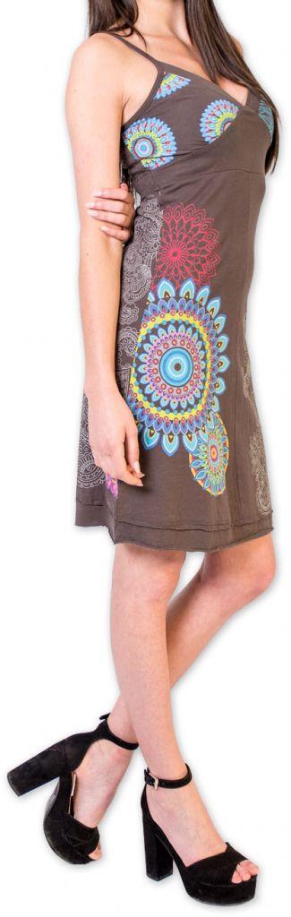 Robe d'été courte ethnique et colorée Grise Loua 273581