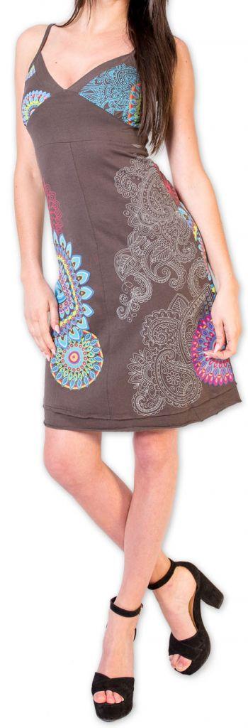 Robe d'été courte ethnique et colorée Grise Loua 273582
