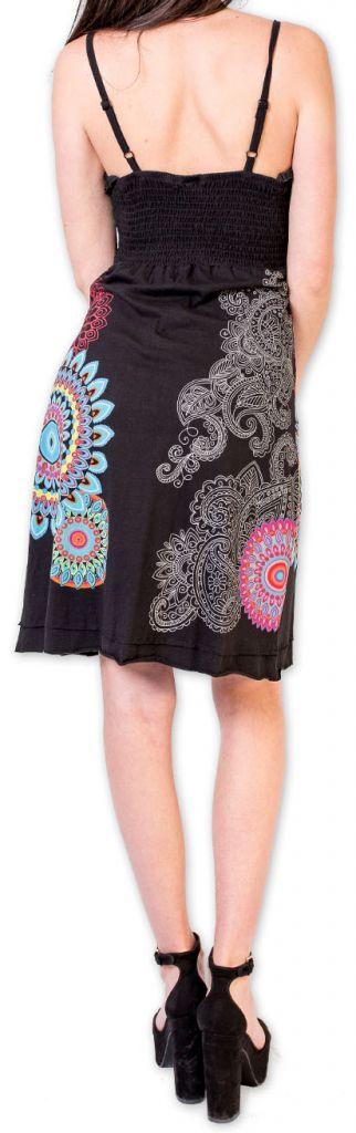 Robe d'été courte ethnique et colorée Noire Loua 273584
