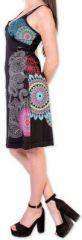 Robe d'été courte ethnique et colorée Noire Loua 273585