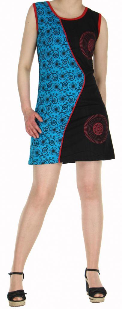 Robe d'été courte mode ethnique  Bleue/Noire  Banita 6 272909