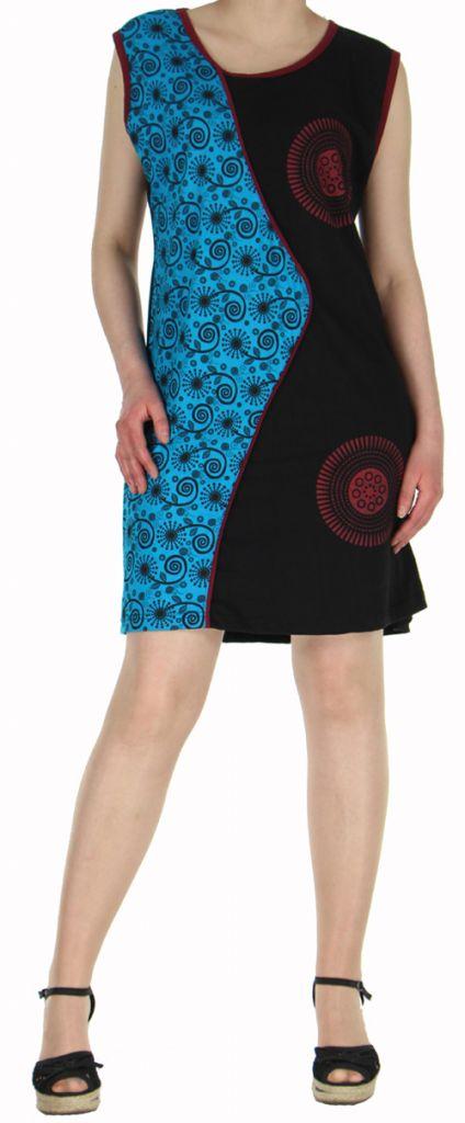 Robe d'été courte mode ethnique  Bleue/Noire  Banita 8 272913
