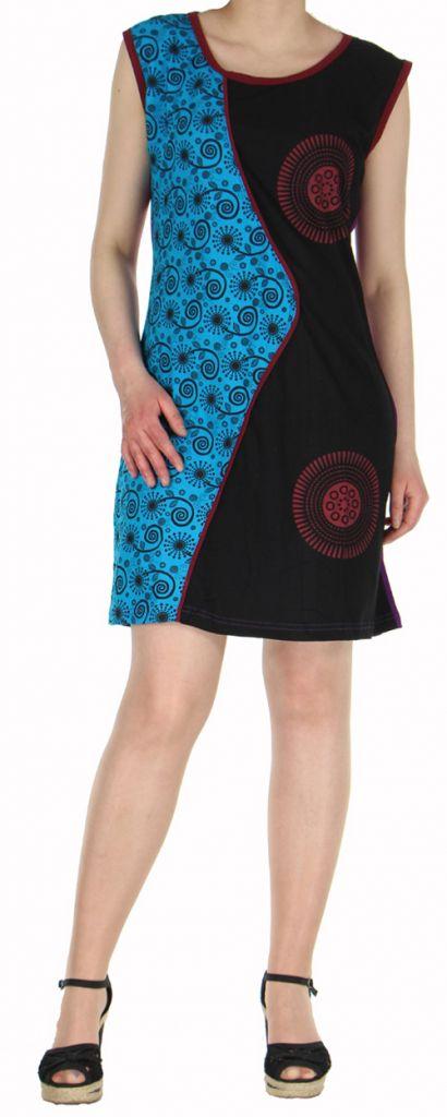 Robe d'été courte mode ethnique  Noire/Bleue/Violette  Banita 4 272905