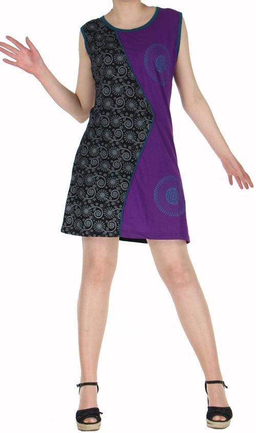 Robe d'été courte mode ethnique  Violette/Noire  Banita 2 272901