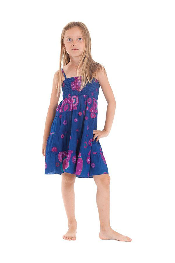 Robe d'été courte Originale et Colorée Indigo et Rose Pétunia 280489