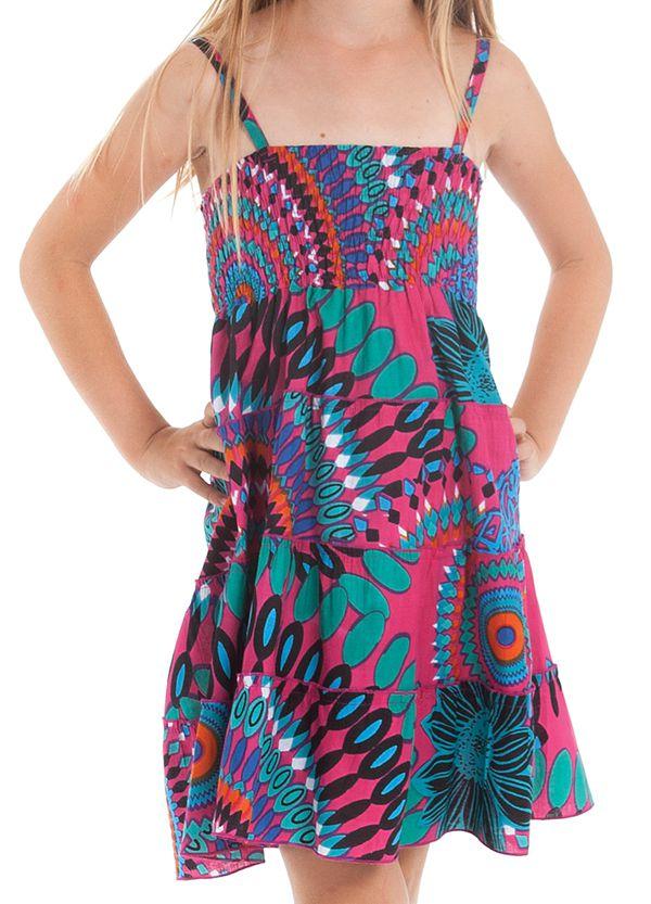 Robe d'été courte Originale et Colorée Pétunia Rose à Mandalas 280500