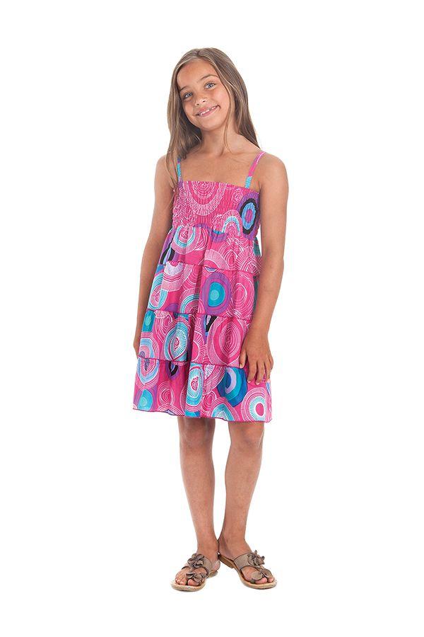 Robe d'été courte Rose à Cercles Originale et Colorée Pétunia 280507