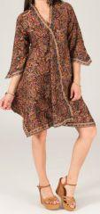 Robe d'été Ethnique et Asymétrique à manches 3/4  Elvas Multicolore 280406