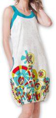Robe d'été Ethnique et Originale forme boule Lorellia Blanche 277132