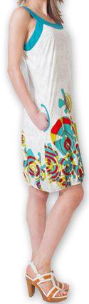 Robe d'été Ethnique et Originale forme boule Lorellia Blanche 277134