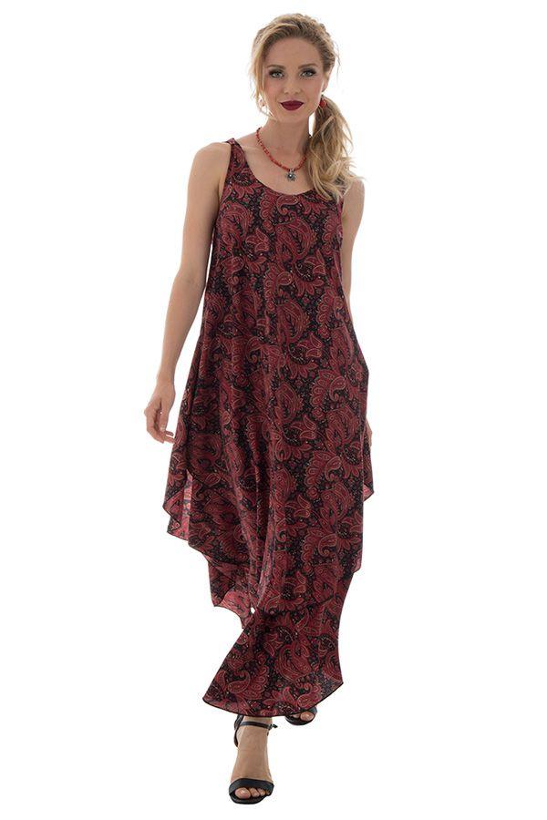 robe d'été fluide avec col rond et volants bordeaux Túrin 289804