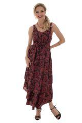 robe d'été fluide avec col rond et volants bordeaux Túrin 289805