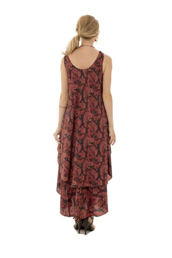 robe d'été fluide avec col rond et volants bordeaux Túrin 289806