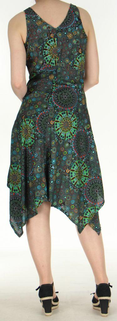 Robe d'été longue imprimée décolletée et asymétrique Noire Sunita 272427