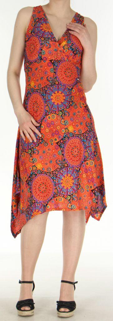 Robe d'été longue imprimée décolletée et asymétrique Orange Sunita 272424