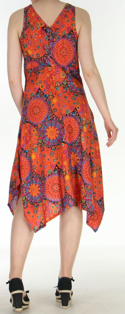 Robe d'été longue imprimée décolletée et asymétrique Orange Sunita 272425