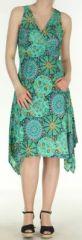 Robe d'été longue imprimée décolletée et asymétrique Verte Sunita 272422