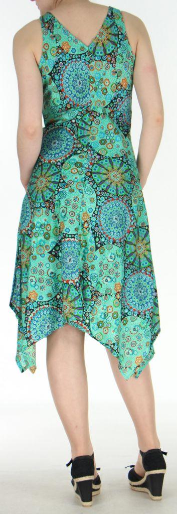 Robe d'été longue imprimée décolletée et asymétrique Verte Sunita 272423
